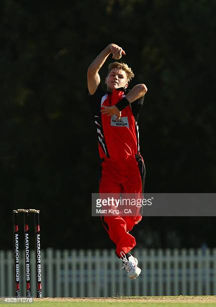 Adam Zampa of the Redbacks bowls during the Matador BBQs One Day Cup match between Victoria and South Australia at Bankstown Oval on October 16 2015...