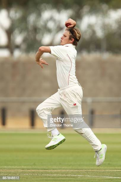 Adam Zampa of the Redbacks bowls during the Sheffield Shield final between Victoria and South Australia on March 26 2017 in Alice Springs Australia