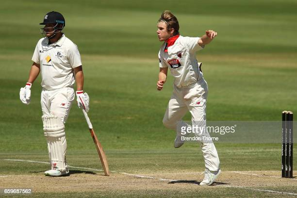 Adam Zampa of the Redbacks bowls during the Sheffield Shield final between Victoria and South Australia on March 29 2017 in Alice Springs Australia