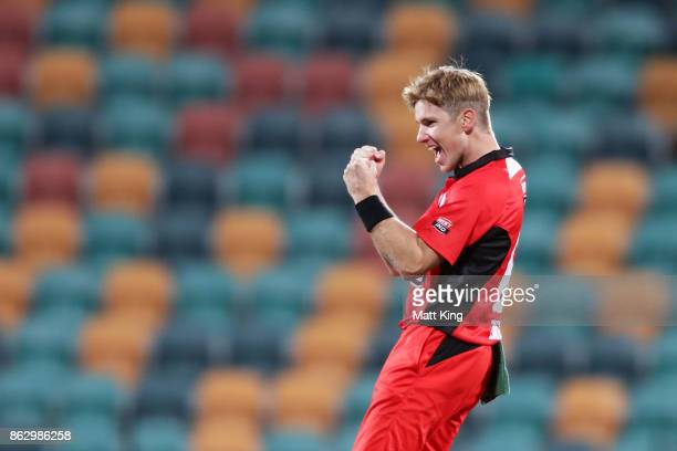 Adam Zampa of the Redbacks celebrates taking the wicket of Glenn Maxwell of the Bushrangers during the JLT One Day Cup match between South Australia...