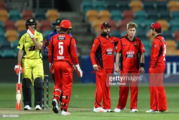 Adam Zampa of the Redbacks reacts after taking the wicket of Ashton Turner of the Warriors during the JLT One Day Cup Final match between Western...