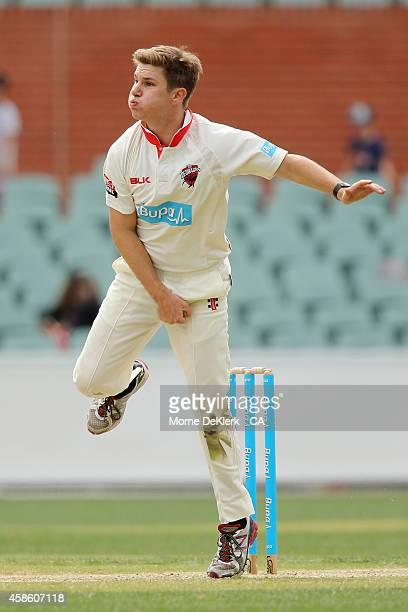 Adam Zampa of the SA Redbacks bowls during the Sheffield Shield match between South Australia and New South Wales at Adelaide Oval on November 8 2014...