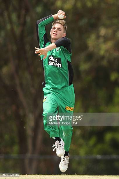 Adam Zampa of the Stars bowls against the Premier All Stars at Casey Fields during Melbourne Stars Family Day on December 13 2015 in Melbourne...