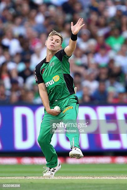 Adam Zampa of the Stars bowls during the Big Bash League match between the Melbourne Stars and the Hobart Hurricanes at Melbourne Cricket Ground on...