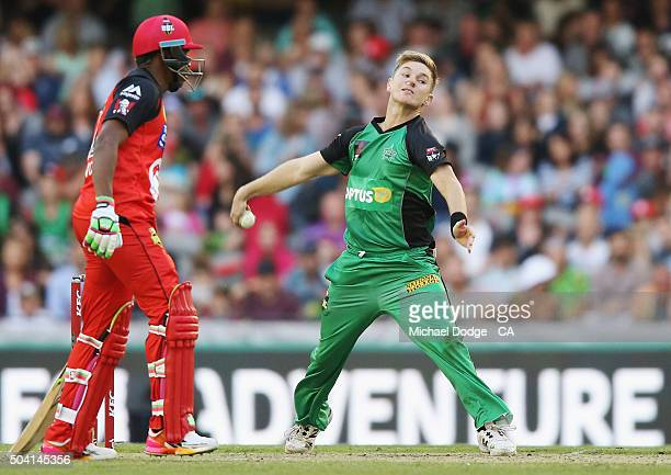 Adam Zampa of the Stars bowls during the Big Bash League match between the Melbourne Renegades and the Melbourne Stars at Etihad Stadium on January 9...