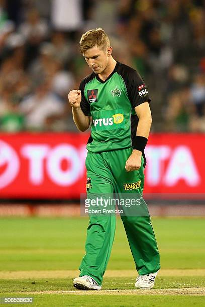 Adam Zampa of the Stars celebrates the wicket of Jacques Kallis of the Thunder during the Big Bash League final match between Melbourne Stars and the...