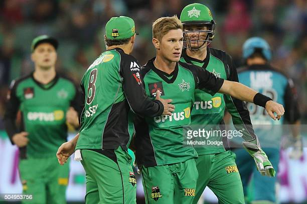 Adam Zampa of the Stars celebrates the wicket of Joe Burns of the Heat bats in front of Peter Handscomb of the Stars during the Big Bash League match...