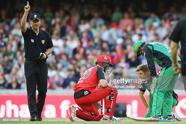 Adam Zampa of the Stars lays on the pitch as Peter Nevill of the Renegades is dismissed during the Big Bash League match between the Melbourne...