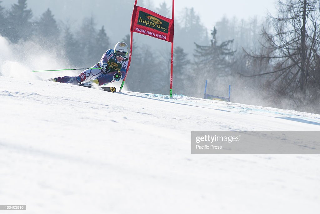 Adam Zampa (SVK) on the course during Giant Slalom race at 54th Vitranc Cup 2015 in Slovenia.