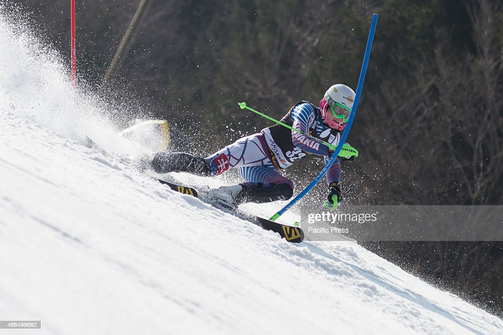 Adam Zampa (SVK) on the course during Slalom race at 54th Vitranc Cup 2015 in Slovenia.