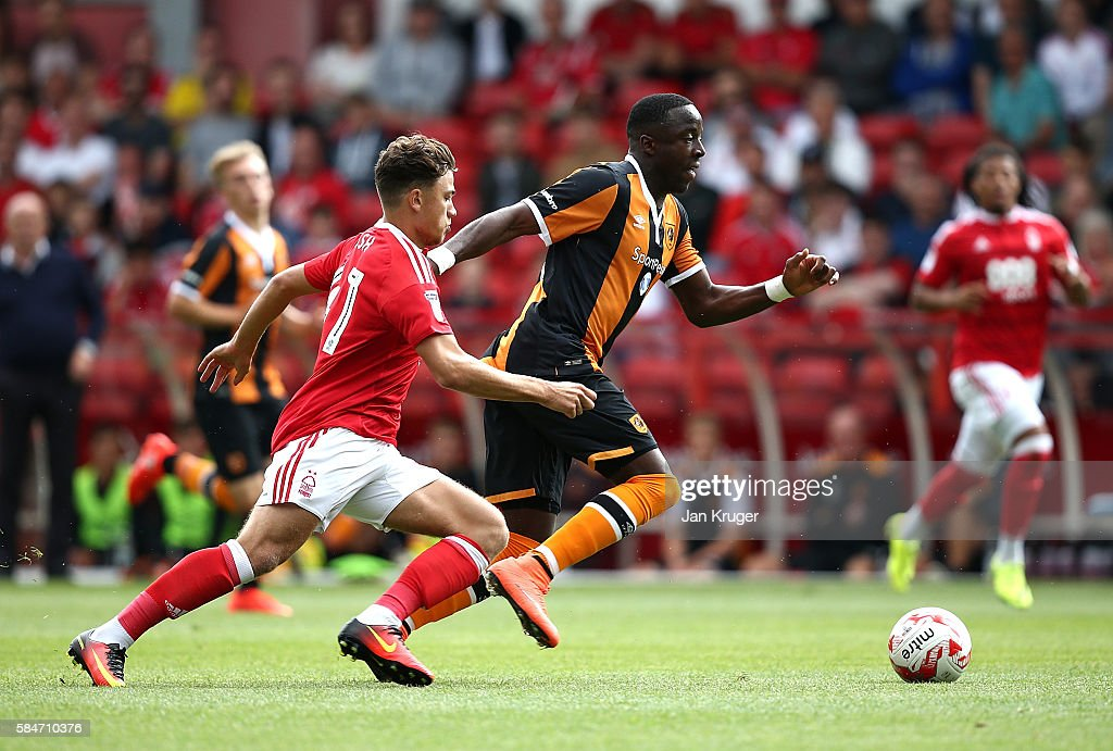 Adama Diomande of Hull City battles with Matty Cash of Nottingham Forest during the pre-season friendly match between Nottingham Forest and Hull City at City Ground on July 30, 2016 in Nottingham, England.