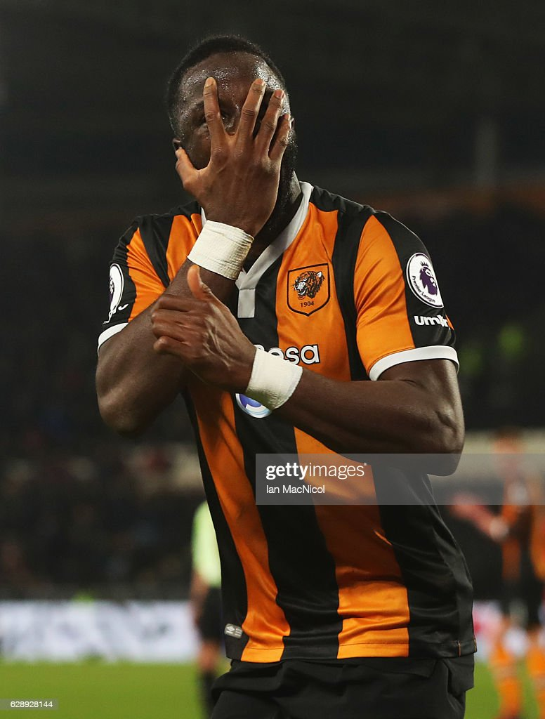 Adama Diomande of Hull City celebrates as he scores their second goal during the Premier League match between Hull City and Crystal Palace at KCOM Stadium on December 10, 2016 in Hull, England.