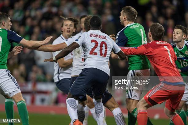 Adama Diomande Sander Berge of Norway during the FIFA 2018 World Cup Qualifier between Northern Ireland and Norway at Windsor Park on March 26 2017...
