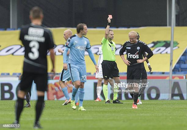 Adama Guira of SonderJyskE walks off the pitch after receiving a red card from referee the Danish Alka Superliga match between Randers FC and...