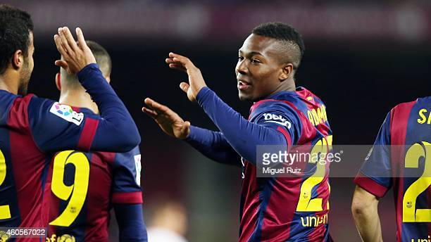 Adama of FC Barcelona celebrates as he scored the seventh goal with his teammates during the Copa del Rey 1/16 2nd leg match between FC Barcelona and...
