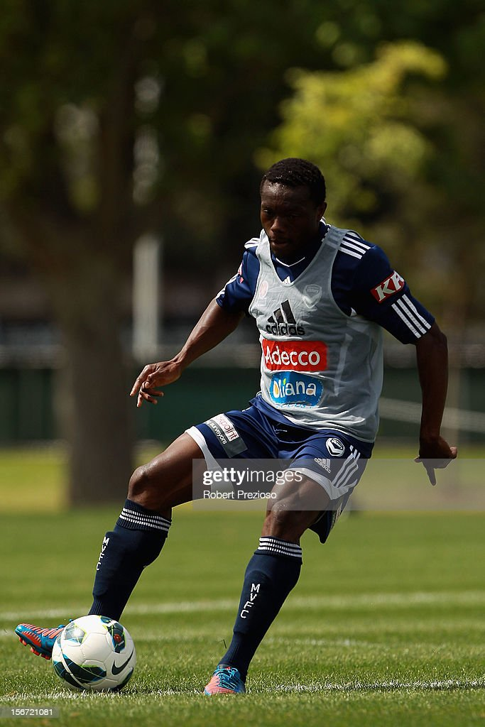 Adama Traore controls the ball during a Melbourne Victory A-League training session at Gosch's Paddock on November 20, 2012 in Melbourne, Australia.