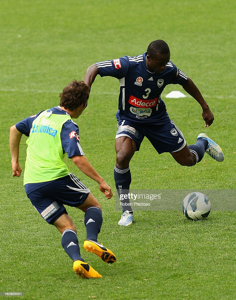 Adama Traore controls the ball during a Melbourne Victory A-League training session at AAMI Park on February 28, 2013 in Melbourne, Australia.
