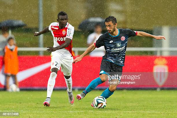 Adama Traore of AS Monaco and Yunus Malli of 1 FSV Mainz 05 in action during the preseason friendly match between 1 FSV Mainz 05 and AS Monaco at...