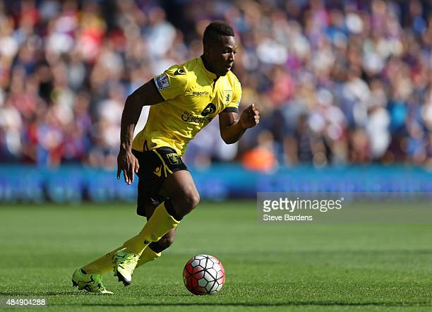 Adama Traore of Aston Villa in action during the Barclays Premier League match between Crystal Palace and Aston Villa at Selhurst Park on August 22...