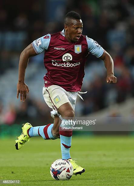 Adama Traore of Aston Villa in action during the Capital One Cup second round match between Aston Villa and Notts County at Villa Park on August 25...