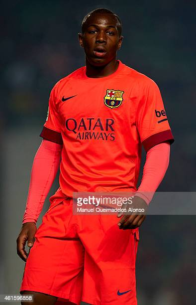 Adama Traore of Barcelona looks on during the Copa del Rey Round of 16 Second Leg match between Elche FC and FC Barcelona at Estadio Manuel Martinez...
