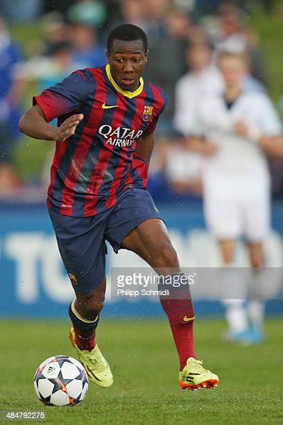 Adama Traore of FC Barcelona during the UEFA Youth League Semi Final match between Schalke 04 and FC Barcelona at Colovray Stadion on April 11 2014...