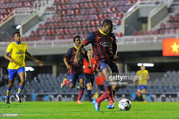 Adama Traore of FC Barcelona scores his team's fourth goal during the UEFA Youth League Quarter FInal match between FC Barcelona U19 and Arsenal U19...