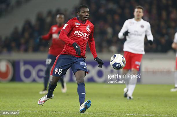 Adama Traore of Lille in action during the French League Cup match between Lille OSC and Paris SaintGermain at Grand Stade Pierre Mauroy on February...