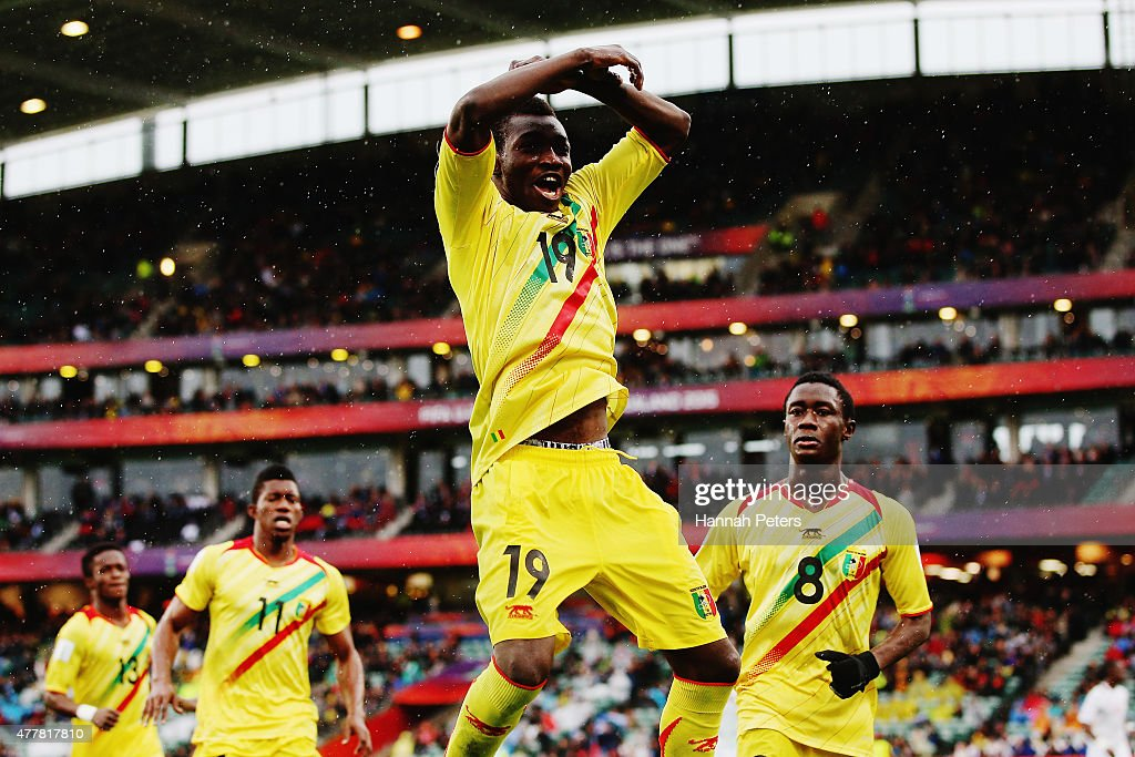 Adama Traore of Mali celebrates after scoring a goal with Malick Toure of Mali and Diadie Samassekou of Mali during the FIFA U20 World Cup Third...