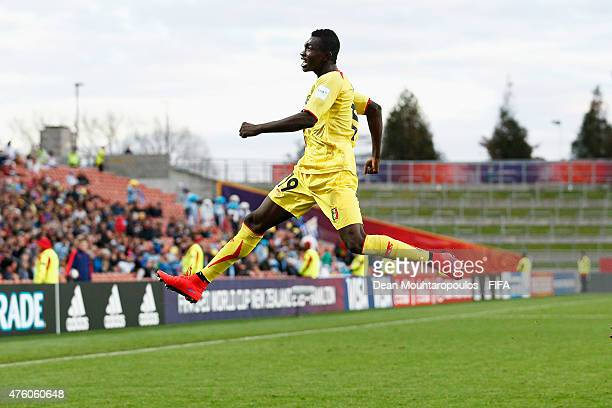 Adama Traore of Mali celebrates after scoring his teams first goal of the game during the FIFA U20 World Cup New Zealand 2015 Group D match between...