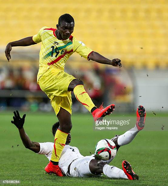 Adama Traore of Mali has his shot blocked by Emmanuel Ntim of Ghana during the FIFA U20 World Cup New Zealand 2015 Round of 16 match between Ghana...