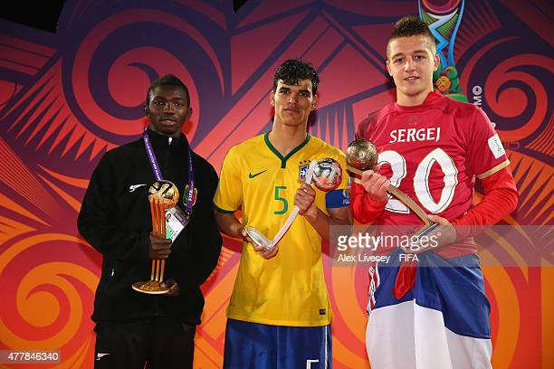 Adama Traore of Mali wins the adidas Golden Ball Danilo of Brazil wins the Silver ball and Sergej Milinkovic of Serbia wins the Bronze ball after the...