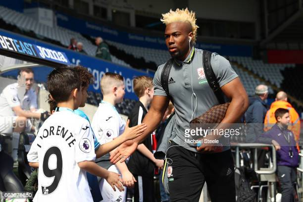Adama Traore of Middlesbrough arrives at the stadium prior to the Premier League match between Swansea City and Middlesbrough at the Liberty Stadium...