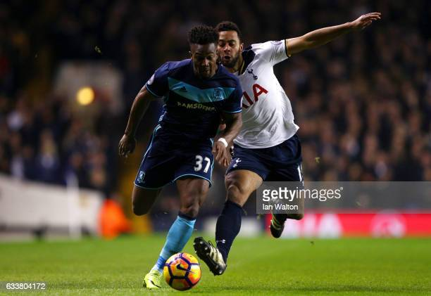 Adama Traore of Middlesbrough battles for the ball with Mousa Dembele of Tottenham Hotspur during the Premier League match between Tottenham Hotspur...