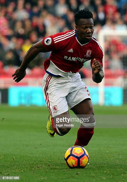Adama Traore of Middlesbrough during the Premier League match between Middlesbrough and AFC Bournemouth at Riverside Stadium on October 29 2016 in...