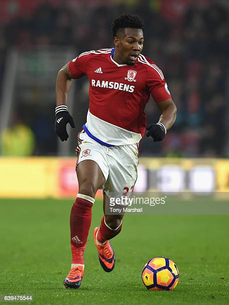 Adama Traore of Middlesbrough during the Premier League match between Middlesbrough and West Ham United at Riverside Stadium on January 21 2017 in...