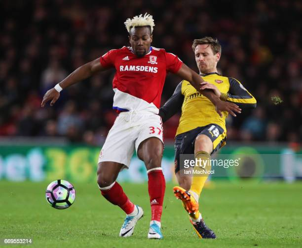 Adama Traore of Middlesbrough holds off Nacho Monreal of Arsenal during the Premier League match between Middlesbrough and Arsenal at Riverside...