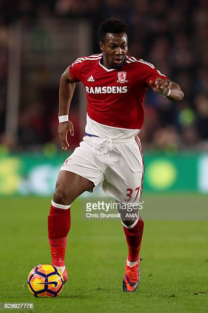 Adama Traore of Middlesbrough in action during the Barclays Premier League match between Middlesbrough and Liverpool at the Riverside Stadium on...