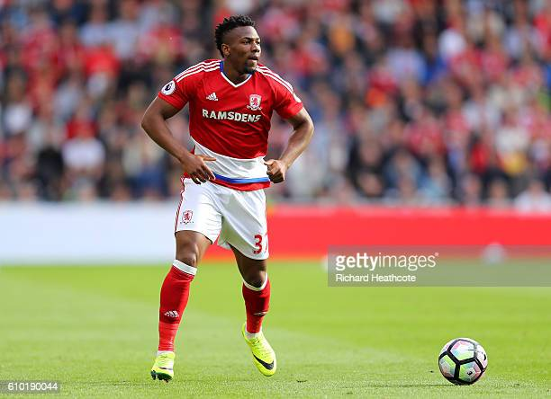 Adama Traore of Middlesbrough in action during the Premier League match between Middlesbrough and Tottenham Hotspur at Riverside Stadium on September...