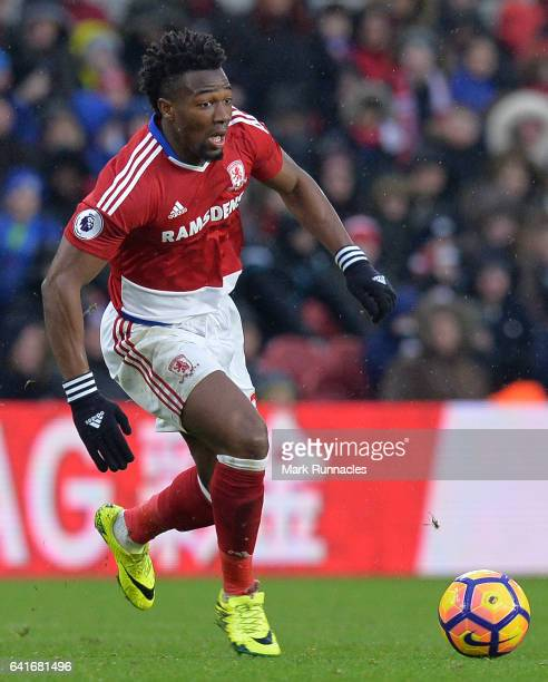 Adama Traore of Middlesbrough in action during the Premier League match between Middlesbrough and Everton at Riverside Stadium on February 11 2017 in...