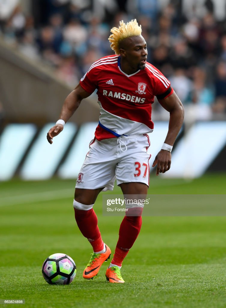 Adama Traore of Middlesbrough in action during the Premier League match between Swansea City and Middlesbrough at Liberty Stadium on April 2, 2017 in Swansea, Wales.