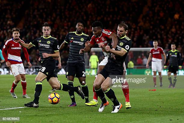 Adama Traore of Middlesbrough is blocked by Branislav Ivanovic of Chelsea during the Premier League match between Middlesbrough and Chelsea at...