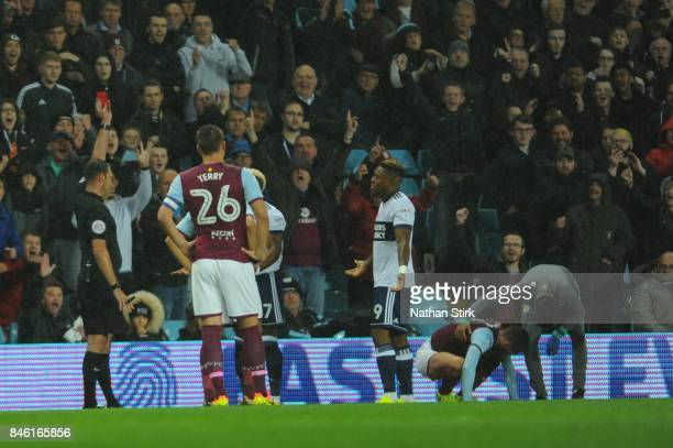 Adama Traore of Middlesbrough is sent off during the Sky Bet Championship match between Aston Villa and Middlesbrough at Villa Park on September 12...