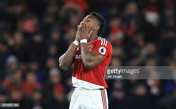 Adama Traore of Middlesbrough reacts during the Premier League match between Middlesbrough and Chelsea at Riverside Stadium on November 20 2016 in...