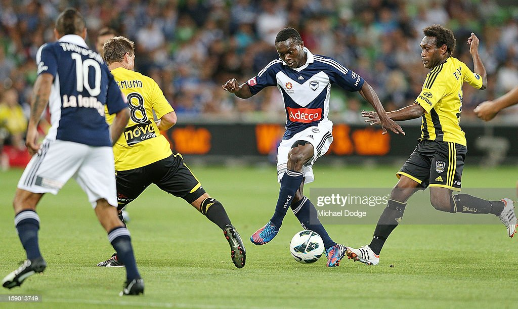 Adama Traore of the Melbourne Victory controls the ball during the round 15 A-League match between the Melbourne Victory and Wellington Phoenix at AAMI Park on January 5, 2013 in Melbourne, Australia.