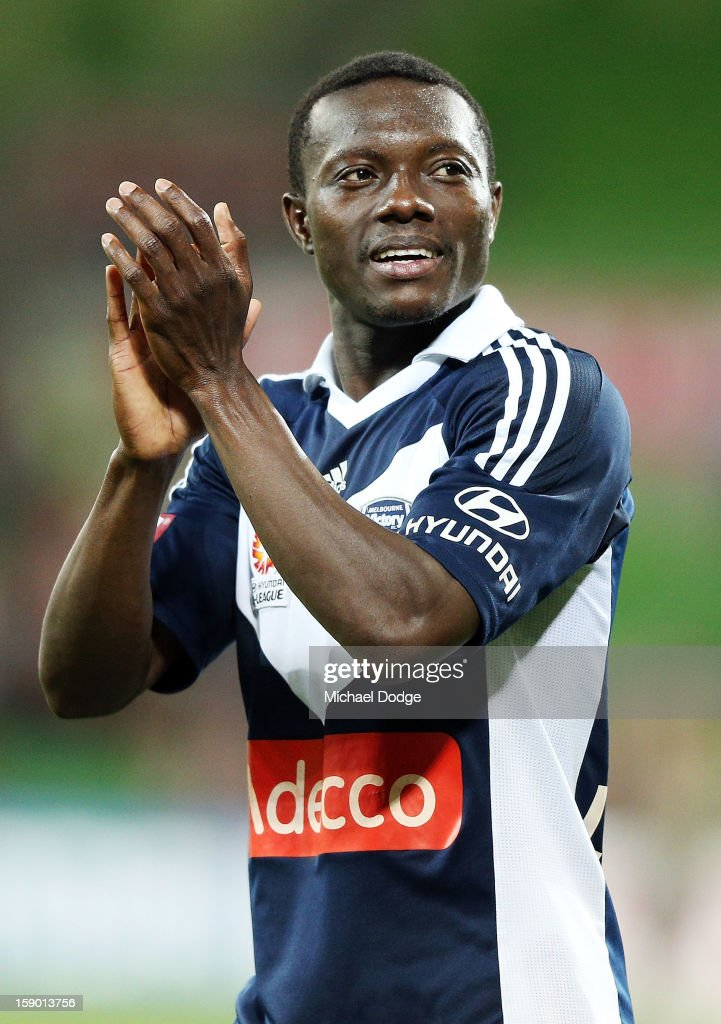 Adama Traore of the Melbourne Victory thanks the crowd after their win during the round 15 A-League match between the Melbourne Victory and Wellington Phoenix at AAMI Park on January 5, 2013 in Melbourne, Australia.