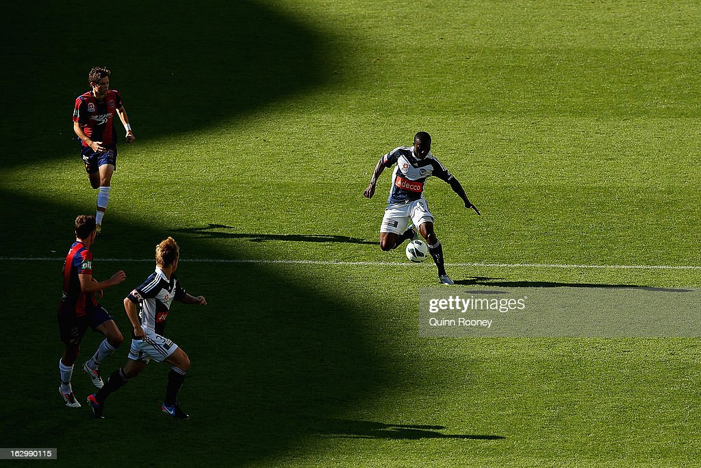 Adama Traore of the Victory looks to pass the ball during the round 23 A-League match between the Melbourne Victory and the Newcastle Jets at AAMI Park on March 3, 2013 in Melbourne, Australia.