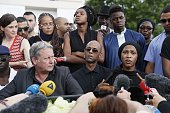 Adama Traore's relatives and their lawyer Frederic Zajac give a press conference prior to a white march organised in tribute to the 24year old man in...
