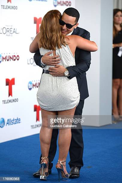 Adamari Lopez and Daddy Yankee arrive for Telemundo's Premios Tu Mundo Awards at American Airlines Arena on August 15 2013 in Miami Florida