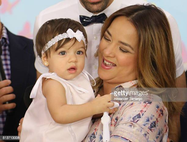 Adamari Lopez and her daughter Alaia are seen on the set of 'Un Nuevo Dia' during the celebration of her daughter's first birthday at KUBO Play and...
